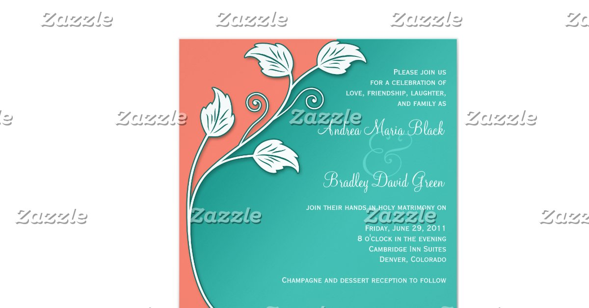"Turquoise And Coral Wedding Invitations: Turquoise, Coral, & White Wedding Invitation 5.25"" Square"