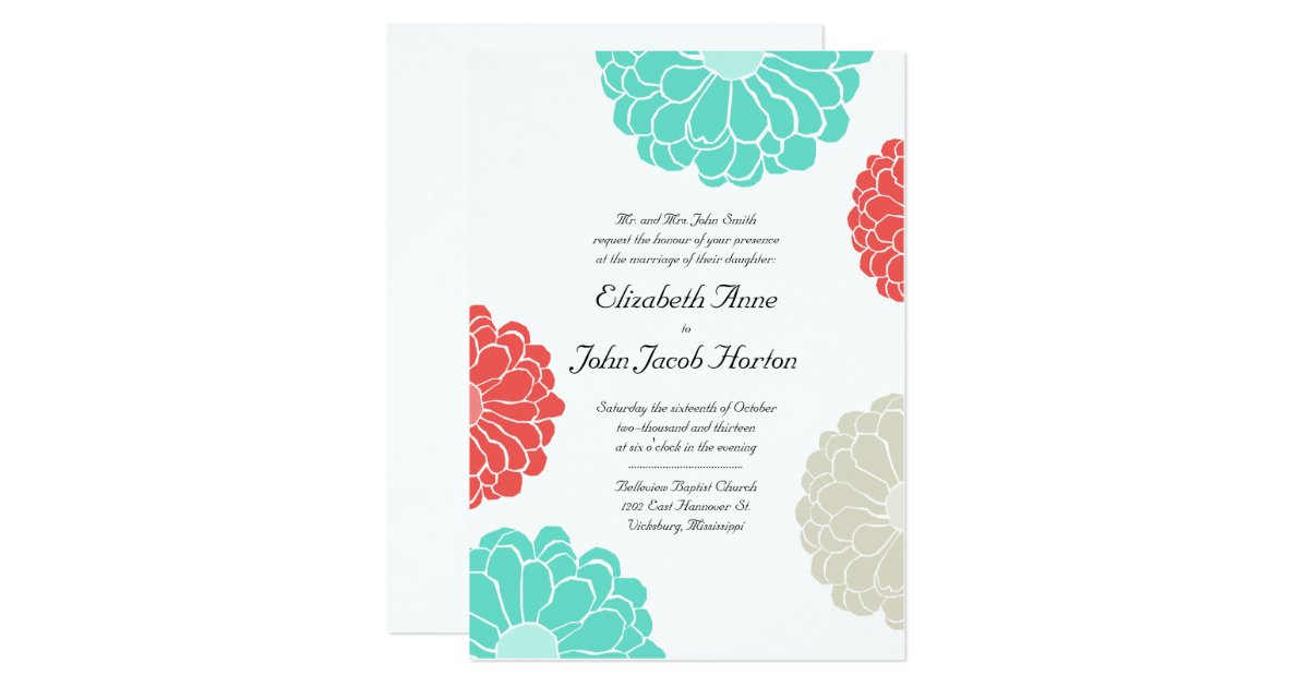 Turquoise And Coral Wedding Invitations: Turquoise & Coral Zinnia Flower Wedding Invitation