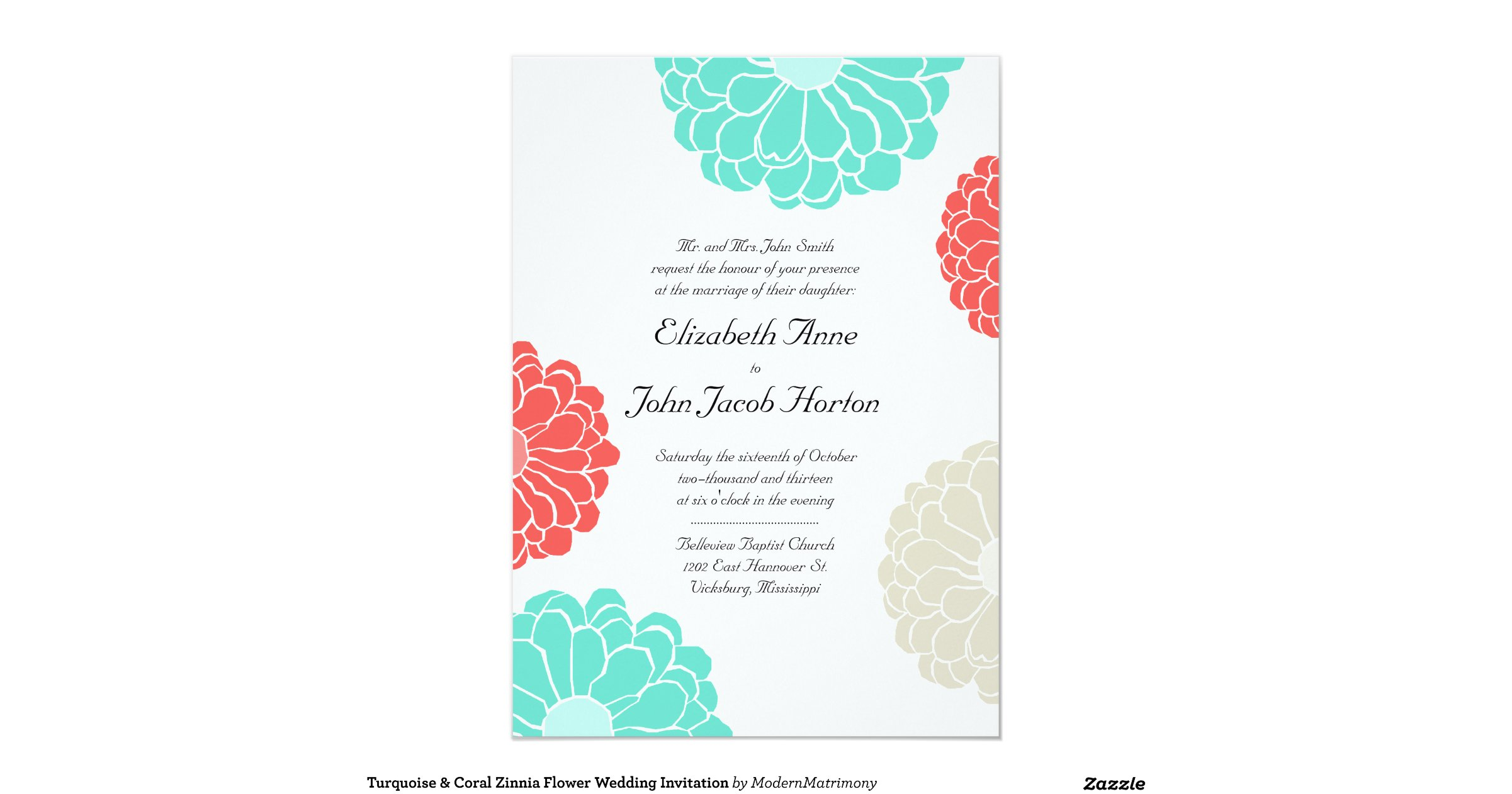 Turquoise And Coral Wedding Invitations: Turquoise_coral_zinnia_flower_wedding_invitation