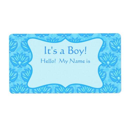 Boys Premium Name Labels: Turquoise Damask Boy Baby Shower Custom Name Tag Label