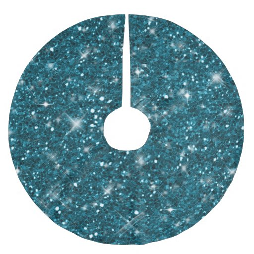 Aqua Christmas Tree Skirt: Turquoise Glitter Pattern ID144 Brushed Polyester Tree