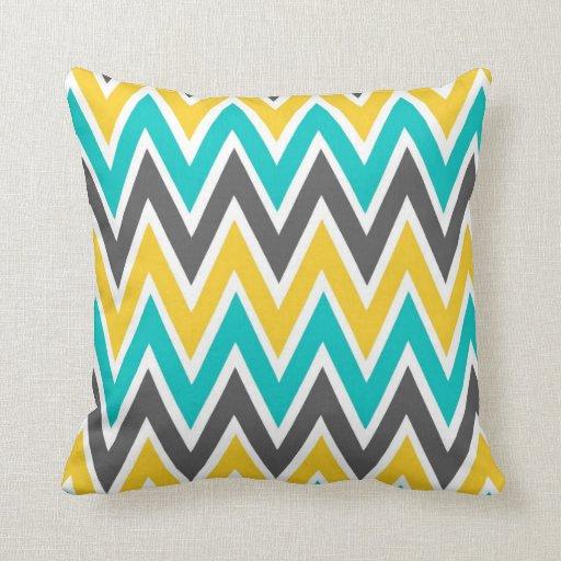 Turquoise Gray Yellow Gold Chevron Throw Pillow Zazzle