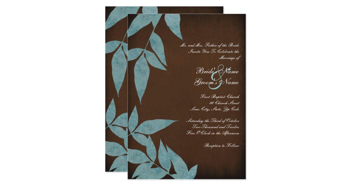 Wedding Invitations Turquoise: Turquoise Leaves Vintage Wedding Invitations