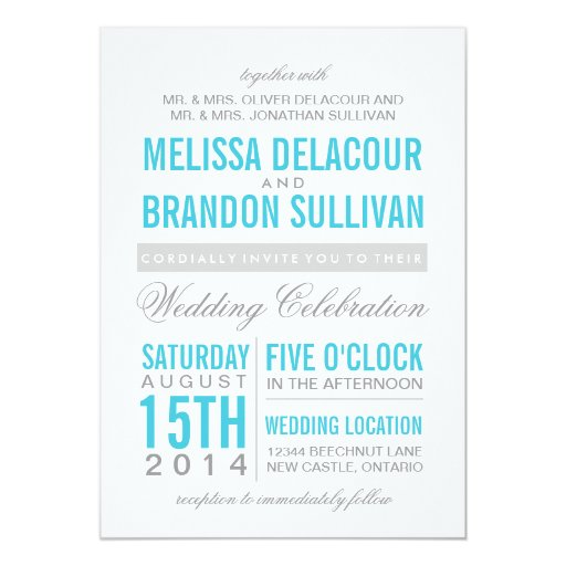 Wedding Invitations Turquoise: Turquoise Modern Typography Wedding Invitation