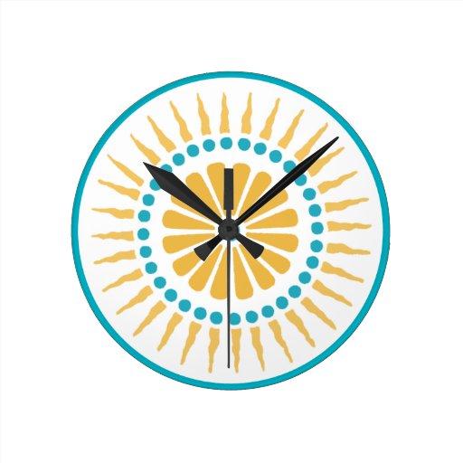 Turquoise Orange Sunburst Wall Clock Zazzle