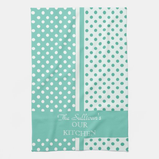 Turquoise Kitchen Towels: Turquoise Polka Dots Personalized Kitchen Towels