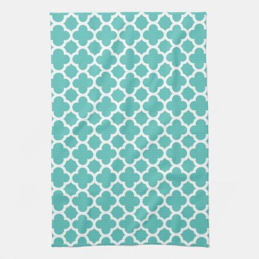 Turquoise Kitchen Towels: Turquoise Quatrefoil Trellis Pattern Kitchen Towel