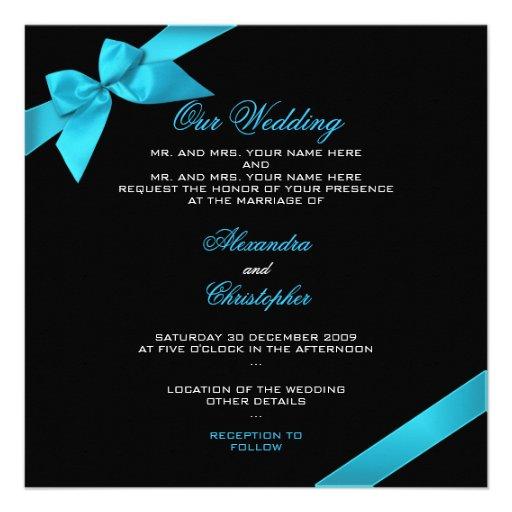 Wedding Invitations Turquoise: Turquoise Ribbon Wedding Invitation Announcement 2 5.25