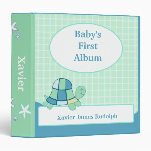 TURTLE Baby's First Photo Album Scrapbook 3 Ring Binder