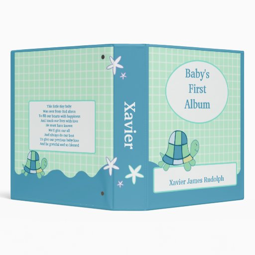 TURTLE Baby's First Photo Album Scrapbook BLUE 3 Ring