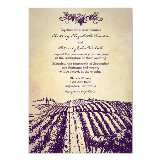 Winery Wedding Invitations: Tuscan Vintage Winery Vineyard Wedding Invitations