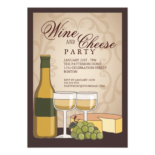 """Tuscan Wine & Cheese Tasting Party Invitation 5"""" X 7 ..."""