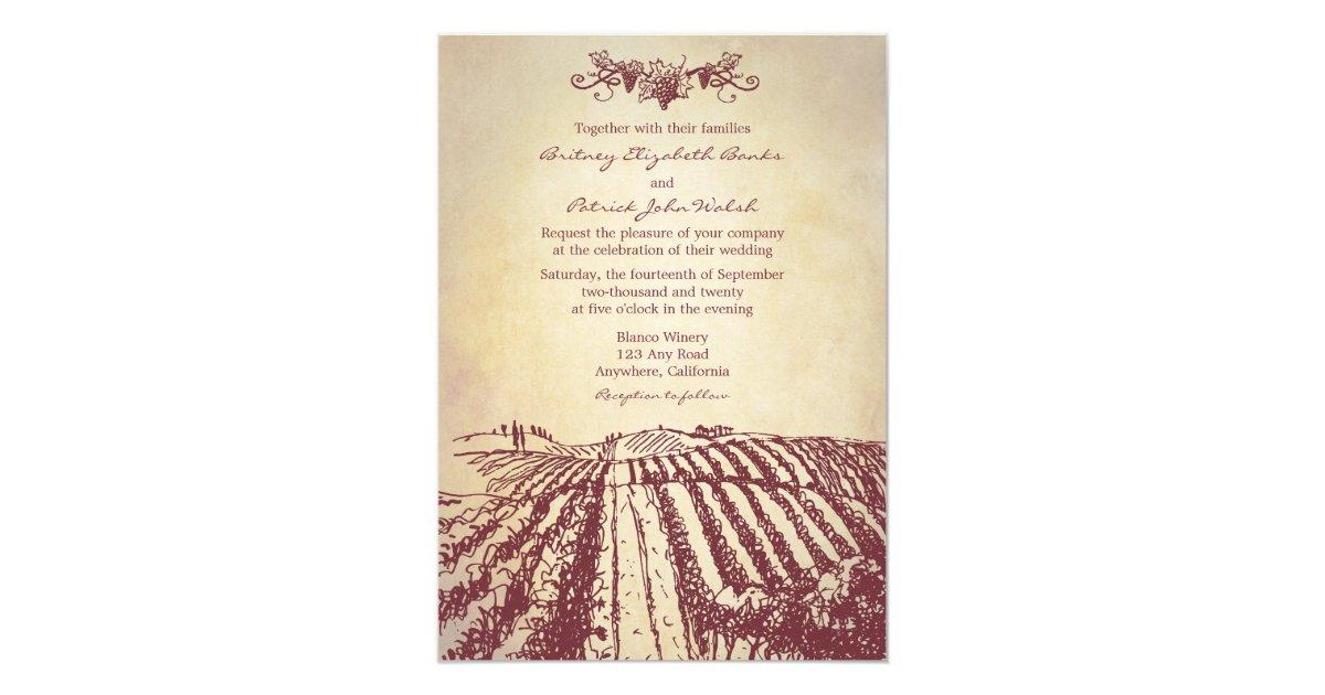 Tuscan Themed Wedding Invitations: Tuscan Wine Winery Vineyard Wedding Invitations