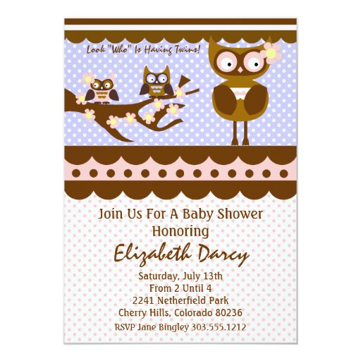 Twin Baby Shower - Owl Theme Card