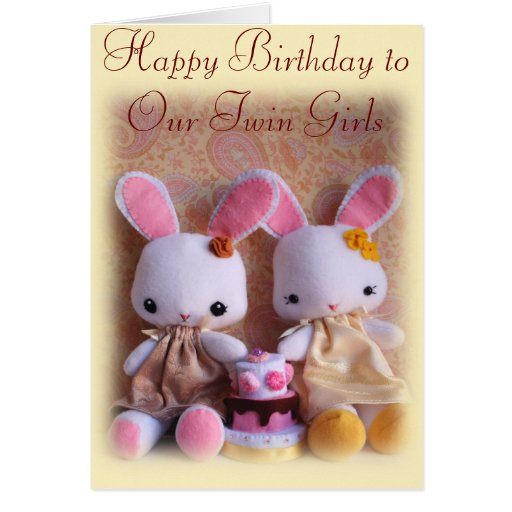 Twin Bunnies With Cake Happy Birthday Card