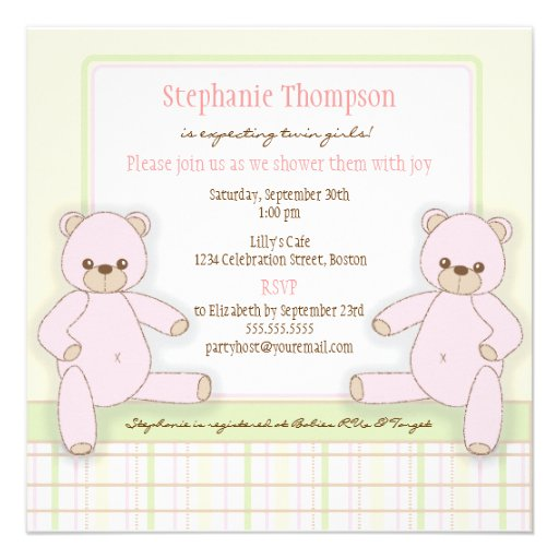 Pink Teddy Bear Baby Shower: Twin Girl Pink Teddy Bears Baby Shower Invitation