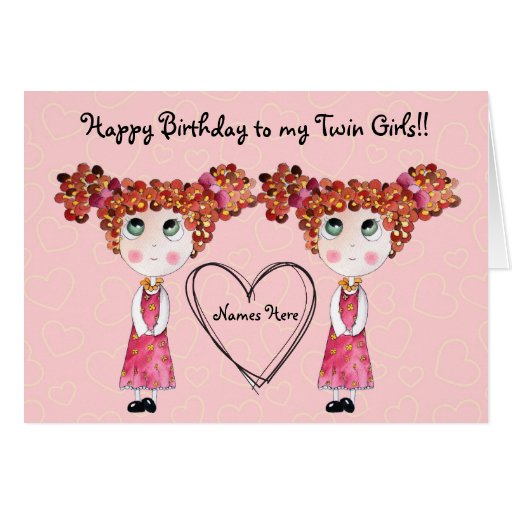 Twin Girls Happy Birthday Customizable Card