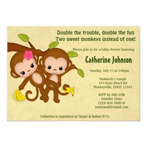 TWIN Monkeys Baby Shower Invitations BOY GIRL