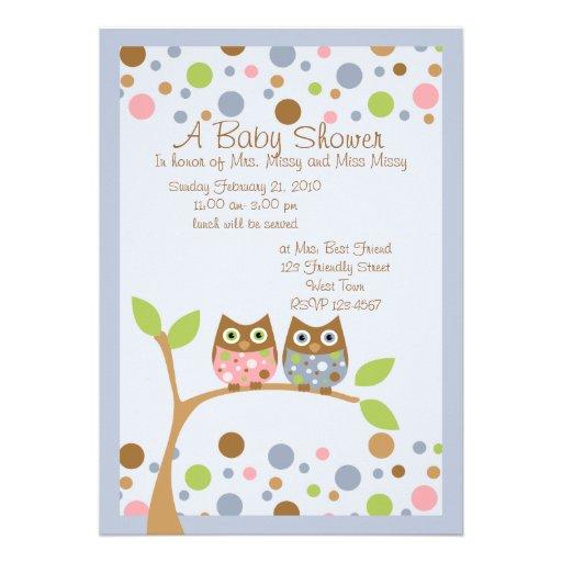 Twin Owl Baby Shower Invitation 13 Cm X 18 Cm Invitation