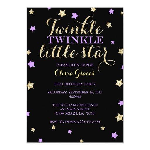 Twinkle Twinkle Little Star Birthday Invitations Zazzle