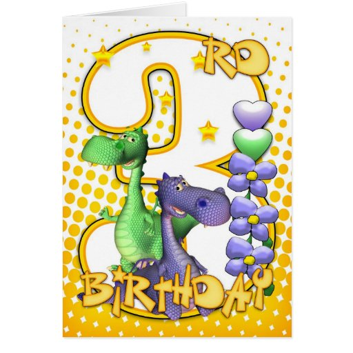Twins 3rd Birthday Card - Cute Little Dragons