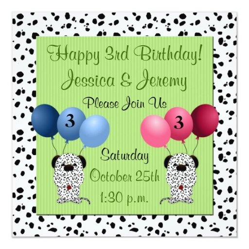 Twins 3rd Birthday Party Invitation Green