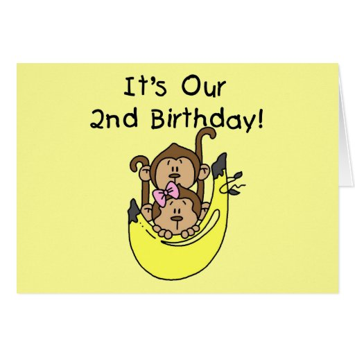 Twins Monkey Boy And Girl 2nd Birthday Greeting Card