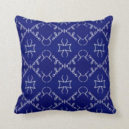 Elegant Sofa Pillows: Two Blue White Elegant Patterns Throw Pillow