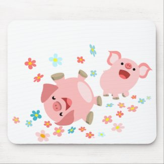 Two Cute Cartoon Pigs in Spring Mousepad mousepad