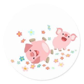 Two Cute Cartoon Pigs in Spring Sticker sticker
