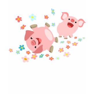 Two Cute Cartoon Pigs in Spring Women T-Shirt shirt