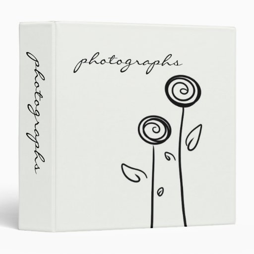 "Two Flowers Simple Line Drawing 1.5"" Photo Album Vinyl"