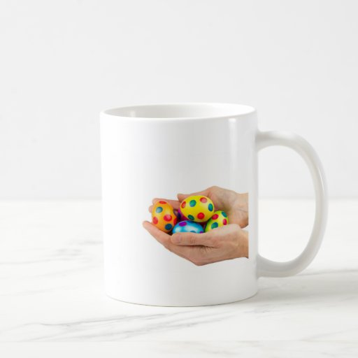 Two Hands Holding Painted Easter Eggs On White Coffee Mug Zazzle