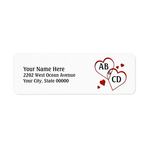 Two Hearts Template Return Address Label