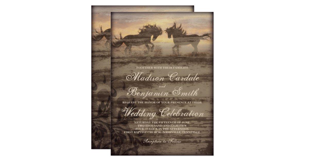 Western Wedding Invites: Two Horses Rustic Country Western Wedding Invites