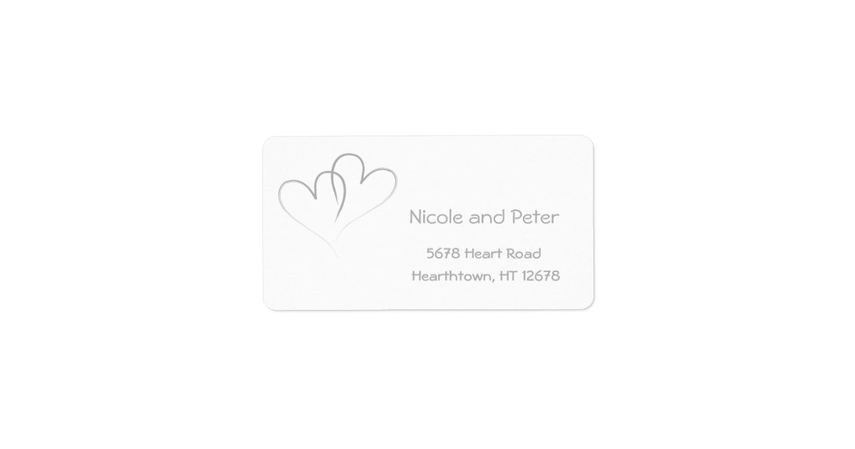 Two Silver Hearts intertwined Label | Zazzle