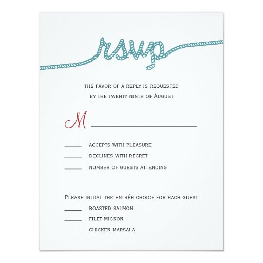 "Fun Wedding Rsvp Card Wording: Tying The Knot Wedding RSVP Cards 4.25"" X 5.5"" Invitation"