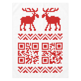 Ugly Christmas Sweater QR Code Happy New Year ! Tablecloth