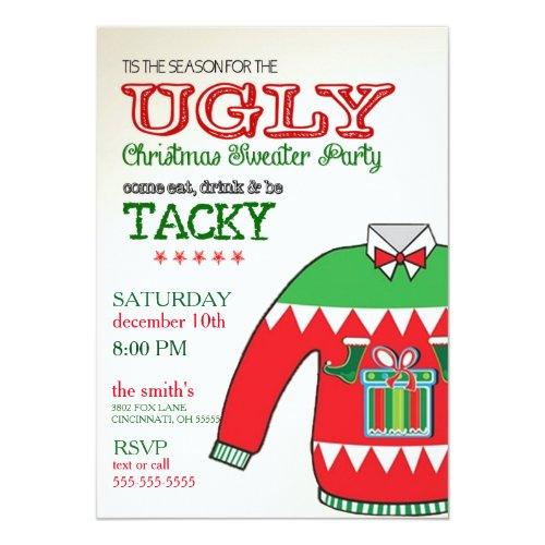 Ugly Christmas Sweater Party Ideas Invitations