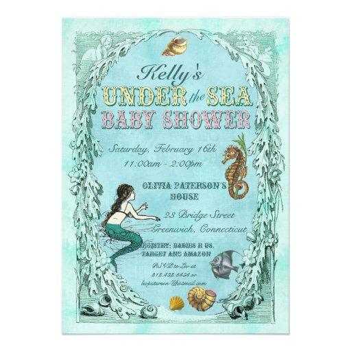 Personalized Mermaid Baby Shower Invitations Custominvitations4u Com