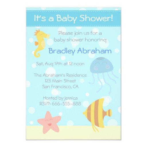 Fish Themed Baby Shower Invitations: Underwater Theme Baby Shower Invite