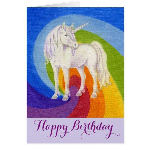 unicorn happy birthday card  zazzle