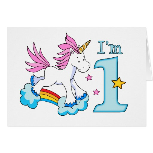 Unicorn Rainbow 1st Birthday Greeting Card