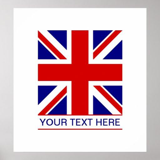 Union Jack Flag Plus Your Text Print | Zazzle