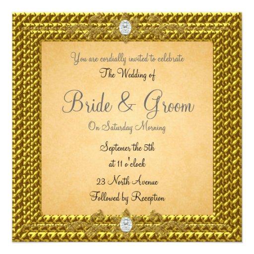 Unique Elegant Wedding Invitations: Unique And Elegant Gold Wedding Invitation Invite