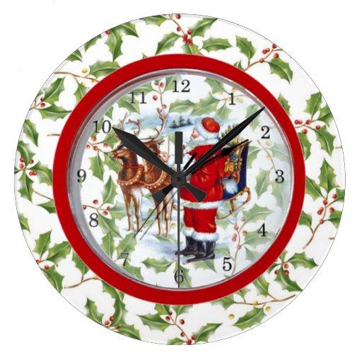 Unique Christmas Clock Santa In Clock Zazzle