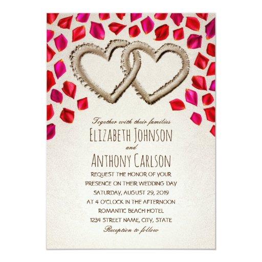 Unique Sand Hearts Rose Petal Beach Themed Wedding Card