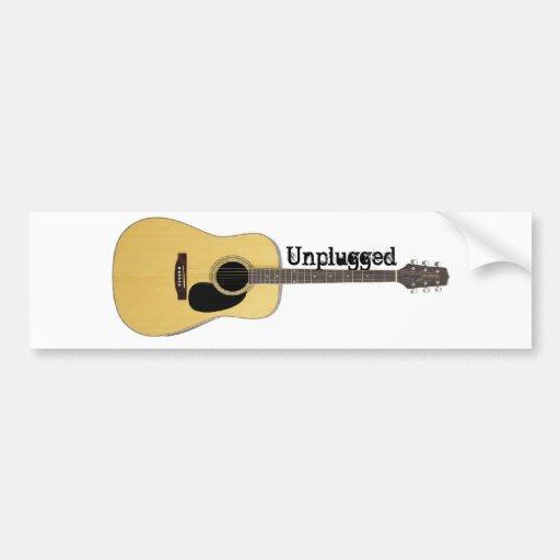 unplugged acoustic guitar bumper sticker zazzle. Black Bedroom Furniture Sets. Home Design Ideas