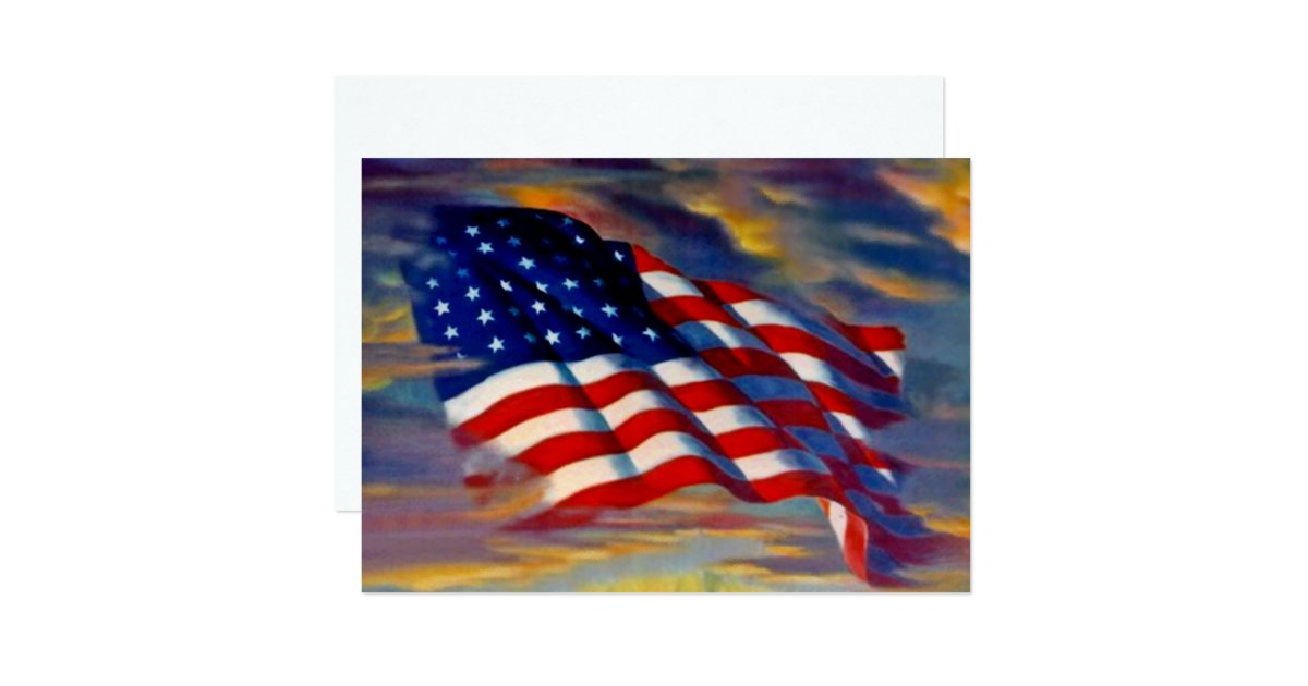 Usa American Flag Waves Clouds Blank Invitations Zazzle