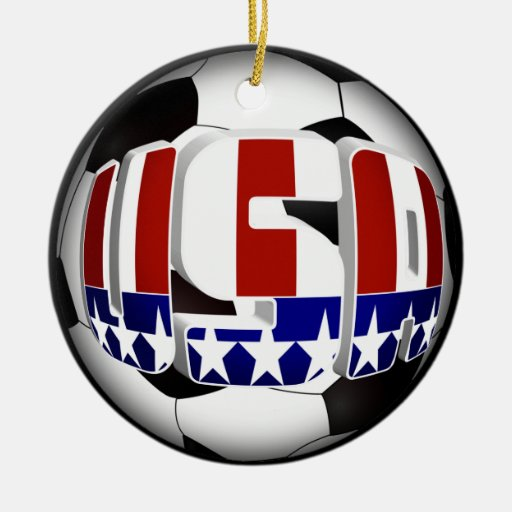 USA Soccer Ball Double-Sided Ceramic Round Christmas ...